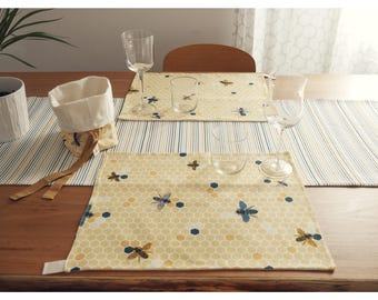 Set 2 printed cotton twill placemats and cotton canvas