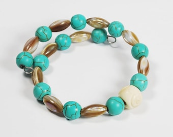 Turquoise / Shell Beaded Bracelet