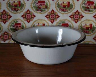 Black and White Enamel Bowl