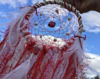 Red and White Sweet Pearl Dreamcatcher