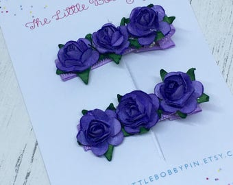 Purple Mulberry Rose Clips/Tea rose clips/rose hair clips/rose bridesmaid clips/flower girl hair clips/rose clips/hair clips