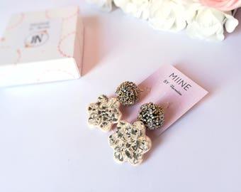 Flower earrings, bride gift, bridesmaid gift, bride jewelry, elegant jewelry, beauty gift, statement jewelry, earrings handmade, womens gift