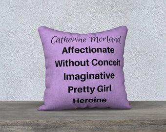 Jane Austen Pillow, Northanger Abbey Pillow, Jane Austen Gift, Jane Austen Quote, Book Lover Gift, Pillow Case, Catherine Morland