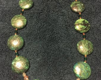 Emerald Green and Crystal Necklace