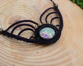 ruby fushite macrame necklace,macrame pendant,macrame jewelry,gemstone necklace,ruby fuschite jewelry,cabochon necklace,boho jewelry,hippie