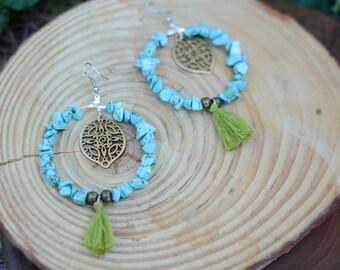 turqouise earrings,tassel earrings,handmade earrings,boho jewelry,bohemian jewelry,bohemian fashion,hoops,tassel jewelry,handmade jewelry