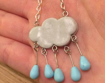 Necklace with cloud and raindrops