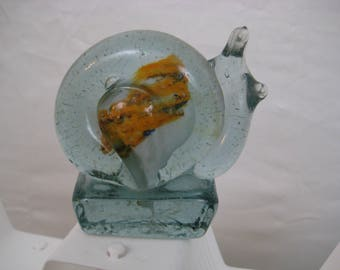 Vintage Glass Snail Paperweight