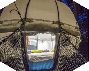 cocoon tree, tree house, glamping, camping