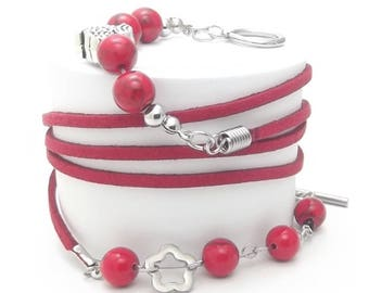 Wrap Bracelet, Stainless Steel Beads, Rings and Claps, Turquoise Stone Beads, Red Color Velvet Cord, Steel Flower Charm