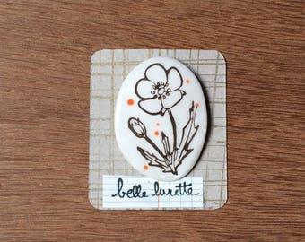 Glazed ceramic brooch