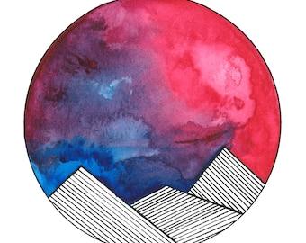 Watercolor Mountains 1