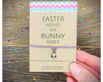 Easter gift etsy easter gift easter bunny kids card easter wish bracelet egg hunt card gift negle Image collections