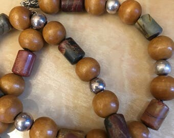Handmade wood beads necklace