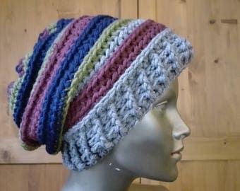 crochet slouchy hat, slouchy beanie, winter colourful beanie, boho beanie, chunky crochet hat