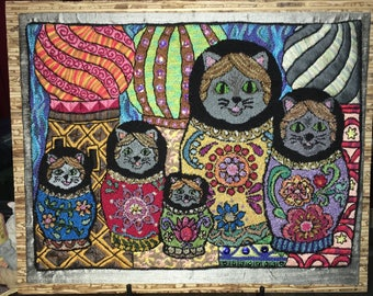 Punch embroidery nesting cats