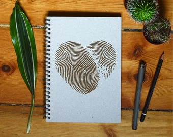 Eco Notebook, Personalized Gift, Handmade Notebook, Recycled Paper, Inspirational Quote, Customized Gift, Fingerprint Heart Notebook
