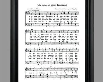 Oh Come, Oh Come, Immanuel Christmas Song Lyrics - Christmas Sheet - Sheet Music- Home Decor - Holiday Gift - Instant Download #HYMN-031