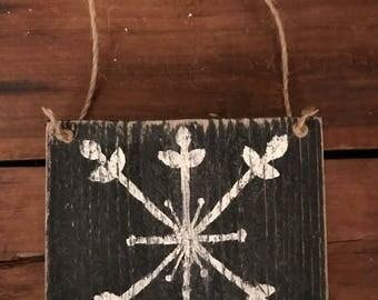 Snowflake wood sign