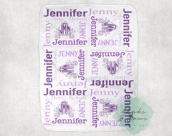 Purple Princess Baby Girl Blanket Flower Monogram Blanket Personalized Baby Blanket Name Collage Blanket Baby Shower Gift Girl