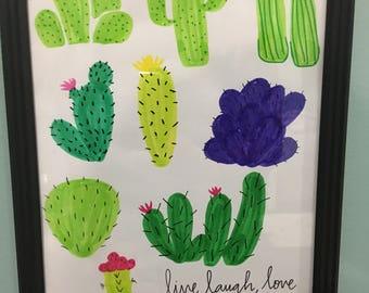 Live laugh love cactus quote