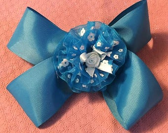 Fancy Bow, Stacked Boutique, Blue Barrette, Easter Bow, Boutique Bow, Wavy Bow, layered over the top, Cute Rose in center, 6 1/2""