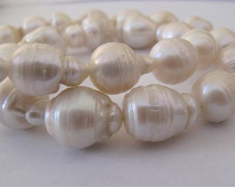 12-15 x 13-19mm Full Strand Natural White Teardrop Jumbo Baroque Beads, White Baroque Pearl Beads, Teardrop Baroque Pearl Beads (BQWH-093)