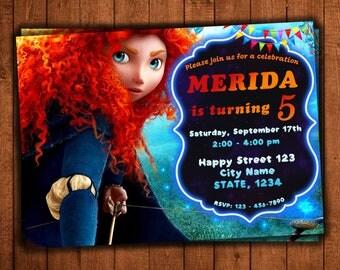 Brave Birthday Invitation, Merida Birthday Invitation, Disney Brave Invitation, brave party Invitation, Brave Invitation, Merida Invitation