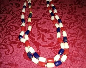 "Vintage 47"" red white and blue beaded necklace"