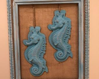 Seahorse Wall Decor. Coastal Living. Beach Decor. Coastal Design Wall  Picture. Seahorse
