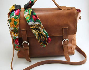 MJ Brown leather messenger leather satchel bag