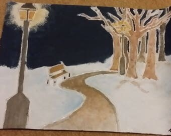 Mixed Media Watercolour and Hot Glue Winter Landscape.