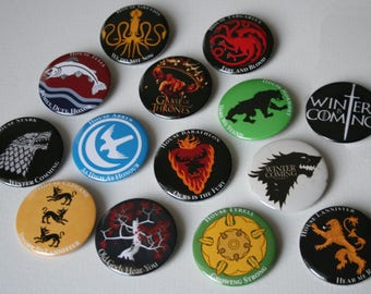 Game of Thrones magnets, all GOT houses! GOT badges, buttons