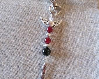 Black Onyx & Red Agate Charm