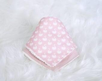 Swan and  dots baby dribble bandana bib set, baby girl, cotton fabric, baby gift, one  size, bib set