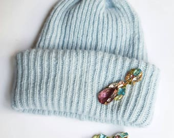 Cashmere with  silk winter hat. Oversize