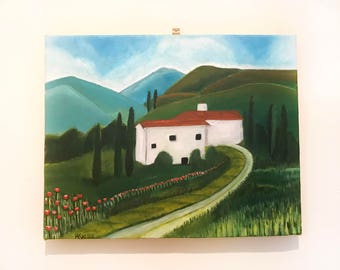 Italian Villa with red flowers - Acrylics
