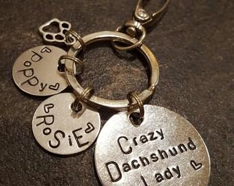 Crazy dachshund lady keyring dog lover gift