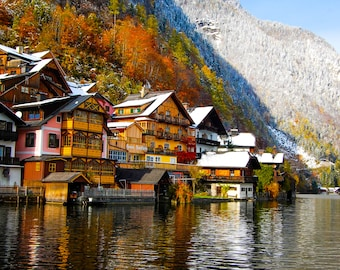 Hallstatt, Austria- Snow in October, digital download