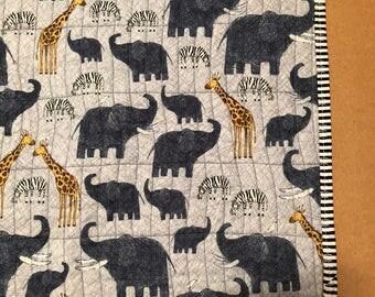 Animal Safari Handmade Baby Quilt