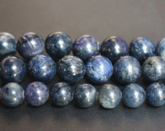 15 inches Full strand,Grade A natural dumortierite smooth round beads 6mm 8mm 10mm 12mm,loose beads,semi-precious stone