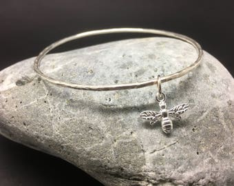 Sterling Silver Stacking Bangle with Bee Charm