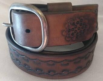 Tooled Leather Belt
