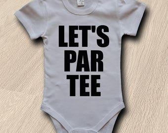 Let's Par Tee Golf Baby Body  Let's Par-tee  Baby Bodysuit Golf Bodysuit Sport Body Gift Baby Body Newborn Gift Short Sleeved Bodysuit Short