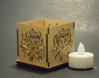Wood Led Candle Holder Rose