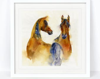 Boy Meets Girl - Horse, Equine Limited Edition Print from an Original Sheila Gill Watercolour. Fine Art,Giclee Print,Hand Painted,Home Decor