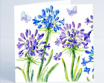 Agapanthus  Flower Greeting Card by Sheila Gill