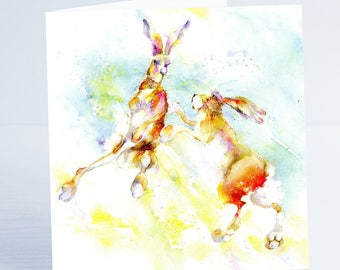 Dancing Hares. Greeting Card - from an original Sheila Gill Watercolour Painting