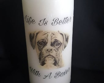 Life is better with a boxer pillar candle