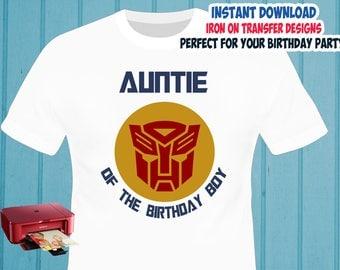 Transformers , Auntie , Iron On Transfer , Auntie Birthday Shirt Designs , Transformers DIY Auntie Shirt Transfer , Digital Files